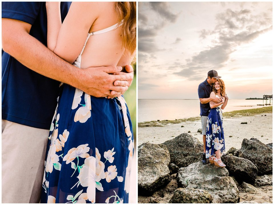 Engagement session on the rocks at Fort Island Beach