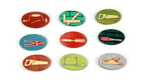 Tool Pins. Brooches. Copper, tin, sterling silver, stainless steel pin wire. Varying sizes. Photo Tara Locklear. 2012