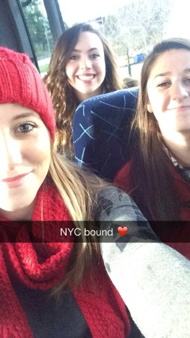 Freshmen Michaela Salamone, Carlie Maxwell, and Katie Braver gear up for the 90 minute bus ride to the city.