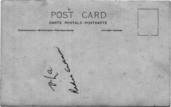 Reverse side of the above post card, the handwriting reads 'VLA Radio Awanui'