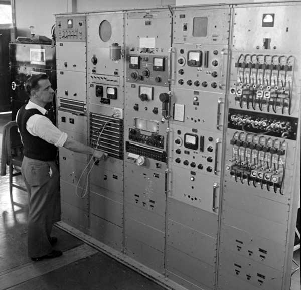 Transmitter controls at Tinakori Hill radio station in 1957.