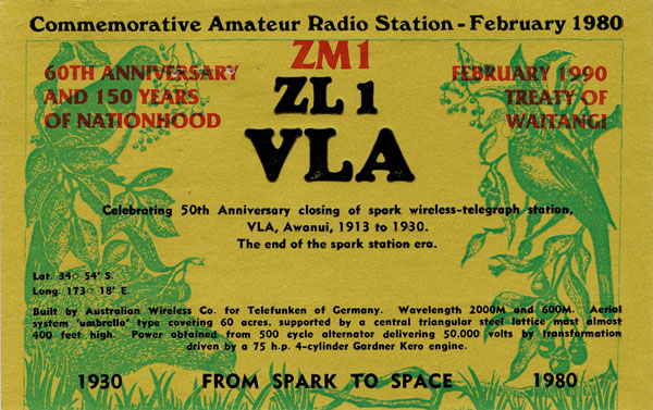 Amateur radio QSL card for ZL1VLA, marking 50 years since the closure of Awanui Radio. The card contains an error: the station was built by the Australasian (not Australian) Wireless Co.