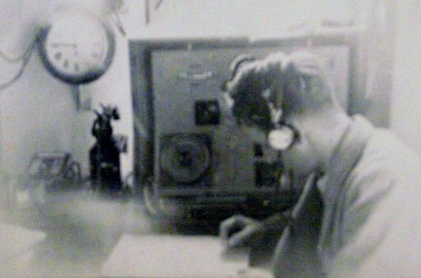 Joe Collett operating 500kHz morse code in 1950