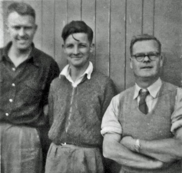 Awarua Radio technicians in the early 1950s. L-R: Ivan Breayley, Don Nicol, Ernie Hancock