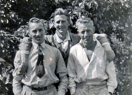 Telegraphists Jack Bonisch, Ken Tweeddale and Henry Louis Seebeck. Probably photographed at Wellington c1939