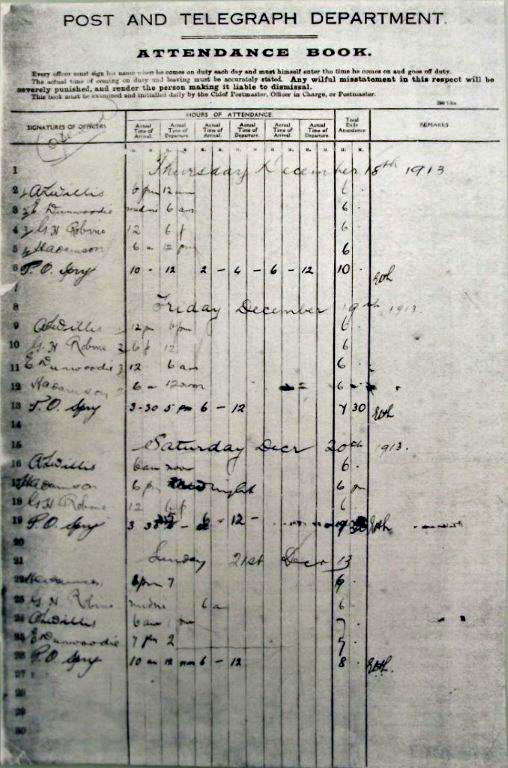 Attendance book showing opening day of Awarua Radio, 18 Dec 1913