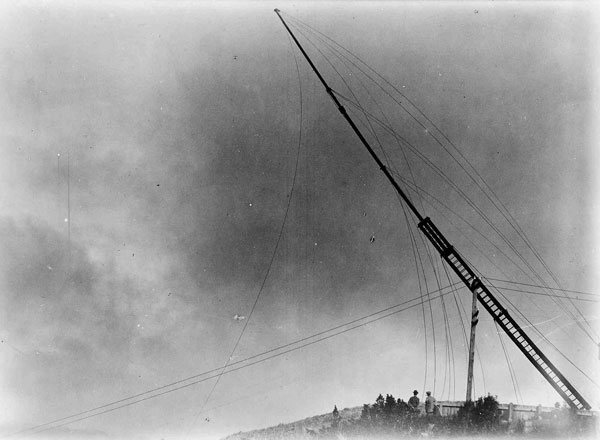Undated photo showing a wooden mast at ZLW being lowered.