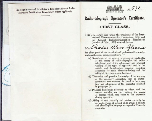 Radio operator's licence of Charles Alan Glennie