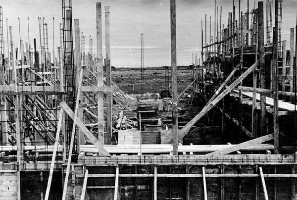 October 1951: Looking west through Transmitter Hall under construction at Himatangi Radio