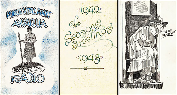 Christmas card produced by the Awarua Battalion of the Home Guard at Awarua Radio in 1942