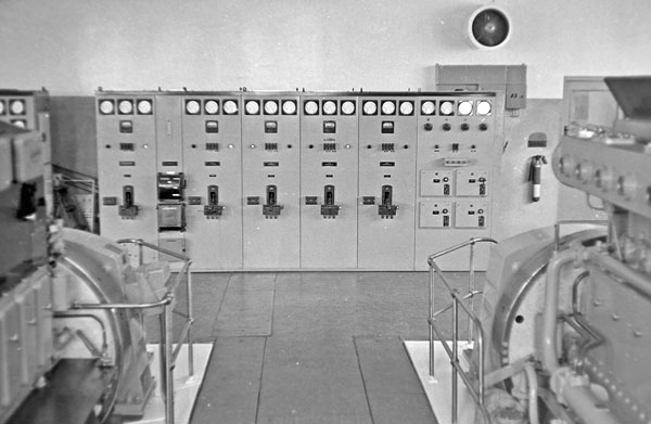 The electrical control board for the diesel alternators in 1974