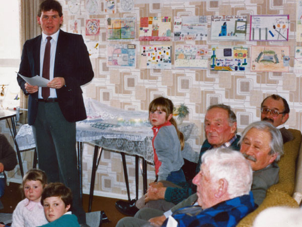 Paul Burke speaking at the 75 anniversary of Chatham Islands Radio in 1988. Also pictured: David Holmes, Bosun Day, Bunty Preece, Gregory Hunt