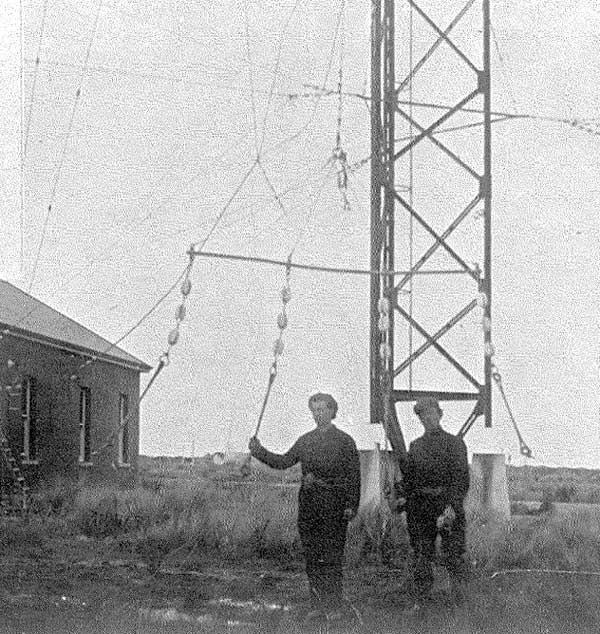 Part of the Awarua Radio antenna, possibly being prepared for raising