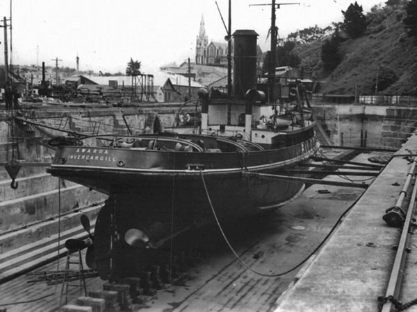 Tugboat Awarua in drydock