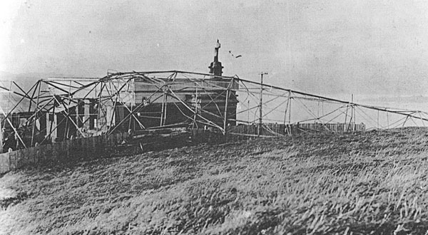 Wreckage of the tower at Wellington Radio, blown down in a gale. Note on photo says c1929, but this looks like the mast destroyed in 1926