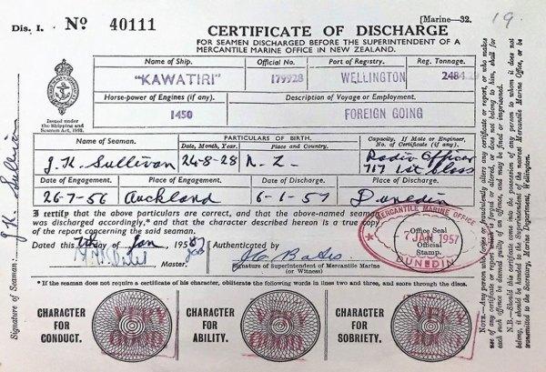 1957 discharge certificate of radio officer GK Sullivan from the collier Kawatiri