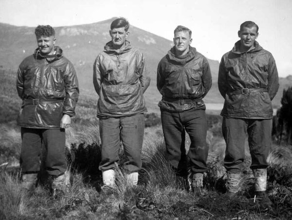 Coastwatchers on Campbell Island, 1941-1945. L-R: HNJ Trustrum, LJ Stanaway, RT Wilson, EW Mitchell