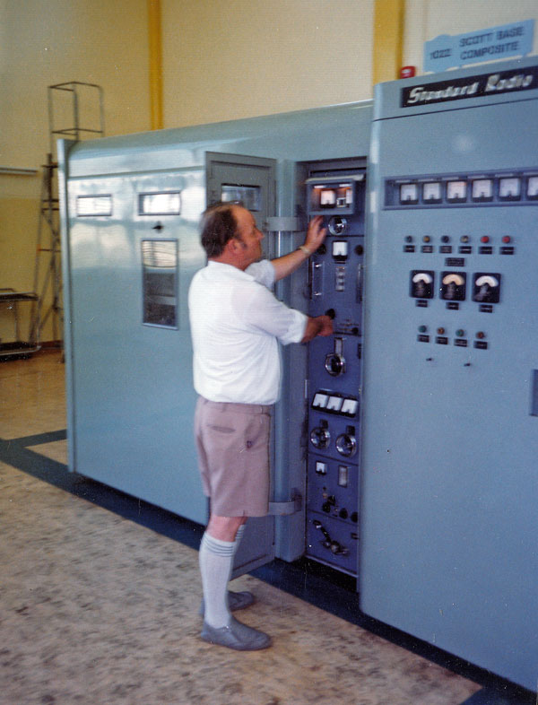 Technician Don Nichol with STC transmitter 1022, c1980