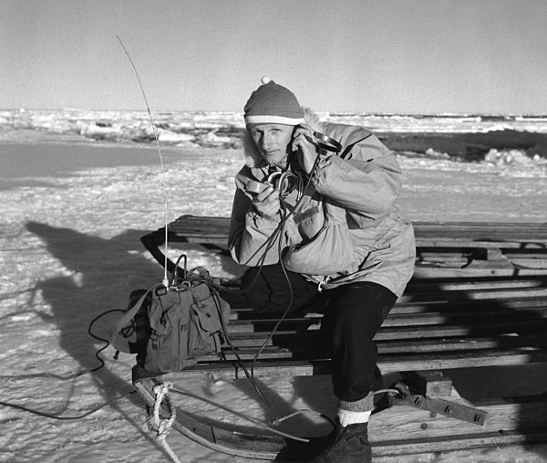 Peter Mulgrew with field radio during the Trans Antarctic Expedition 1956-1958