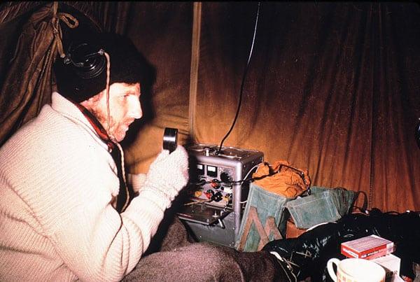Dr G Lyon on radio to Scott Base during the 1970-1971 season