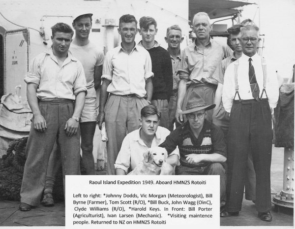Aboard HMNZS Rotoiti, heading for Raoul Island in 1949
