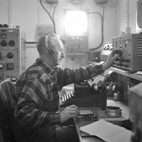 Radio operator Ted Gawn at Scott Base