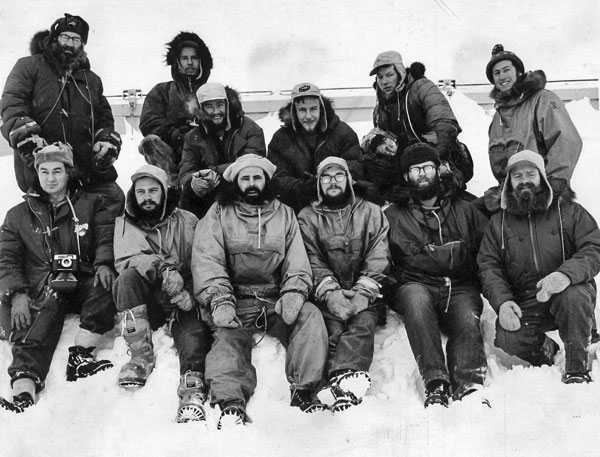Winter-over team for 1966-1967. Radio operator Norm White in front at left