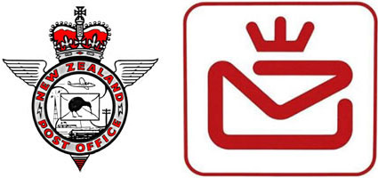 The NZPO badge (left) and the logo that replaced it in 1975