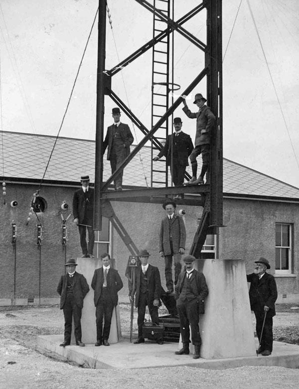 Dignitaries at the base of the Awarua Radio tower, presumably in 1913