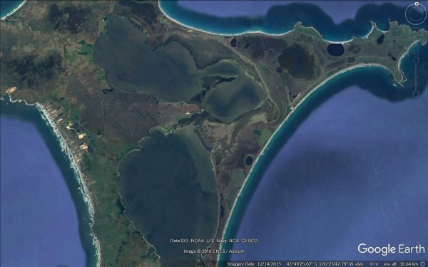 Satellite view of Chatham Islands lagoons and airstrips