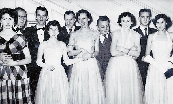 Post Office Ball, Wellington, 1956. L-R: Gordon Minshall and friend, Dennis and Grace Horan, Dave and Pat Boys, Ken and Ngaire Walford, Clyde Williams and fiancée Cathie Wright