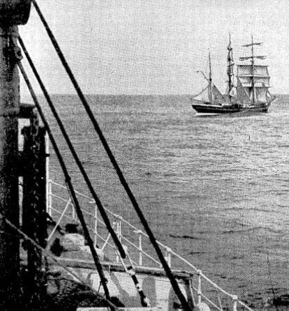 The Finnish barque Favell as she appeared from the upper deck of the Union liner Monowai on Sunday morning when hove-to in the Tasman Sea to tranship an apprentice suffering from appendicitis