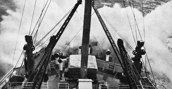 The Monowai, shipping a big sea over the bow as she steamed at full speed to answer the radio appeal for assistance