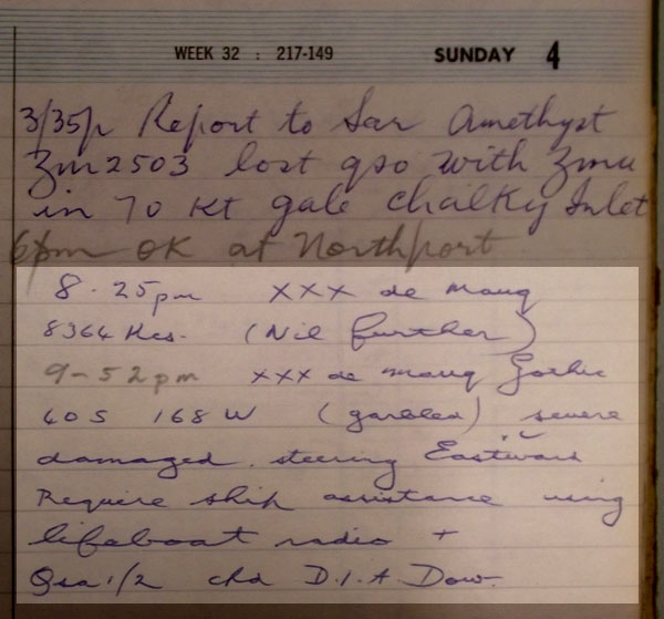 The logbook entry (highlighted) made by David Dow, operator at Awarua Radio ZLB, on Sunday 4 August 1968 after receiving the urgency message from SS Gothic.