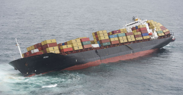 Container ship Rena on 11 Oct 2011, 6 days after hitting Astrolabe Reef