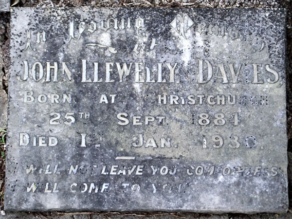 Grave of John L Davies at Waikumete Cemetery, Auckland