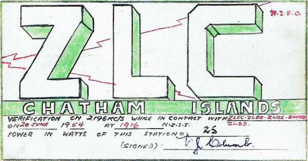 A QSL card from Chatham Islands Radio ZLC confirming communication on 20 June 1954