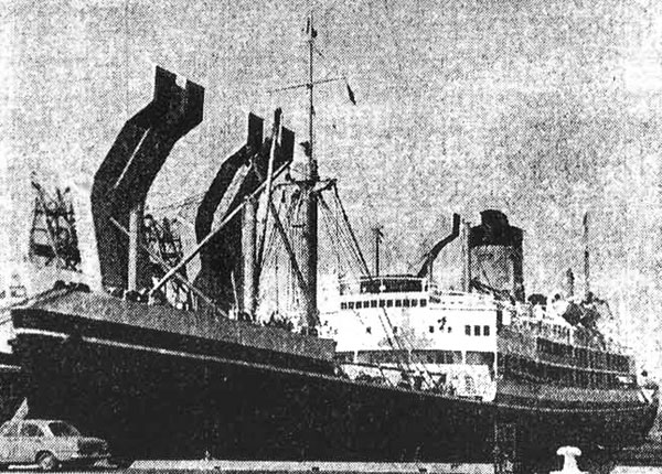 SS Gothic berthed at the meat loaders in Bluff