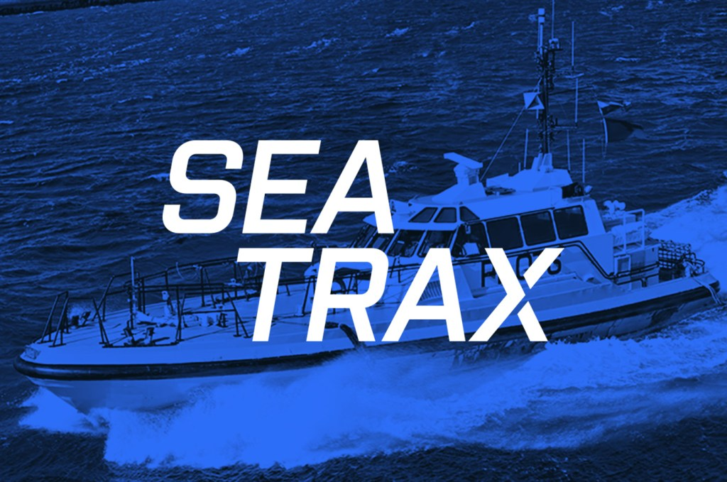 SeaTrax vessel monitoring system logo over laid on to a pilot boat