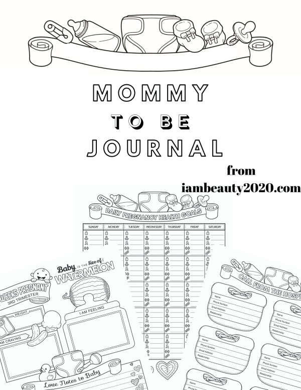 Journal for Mommy To Be - Prenatal Pregnancy Coloring Planner PDF Printable