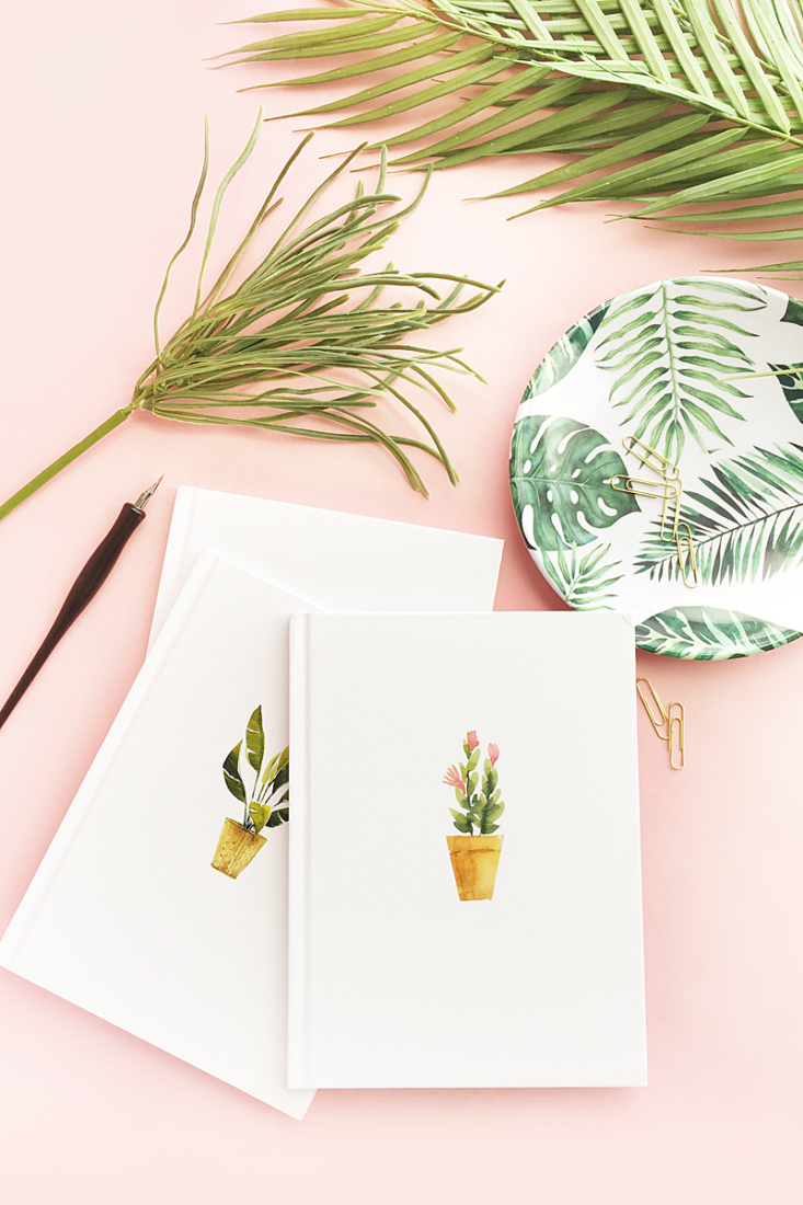 DIY Watercolor Potted Plant Notebooks on Maritza Lisa - Click through to make your own pretty stationery or journals with this easy DIY and Crafts tutorial!