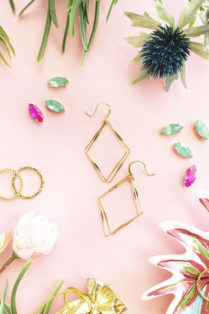 Easy DIY Gold Diamond Frame Earrings