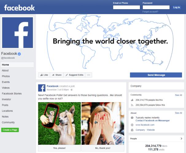 Facebook Katalog usług