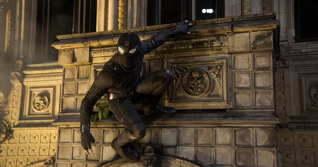 kostum Stealth mode Spider-Man berwarna hitam