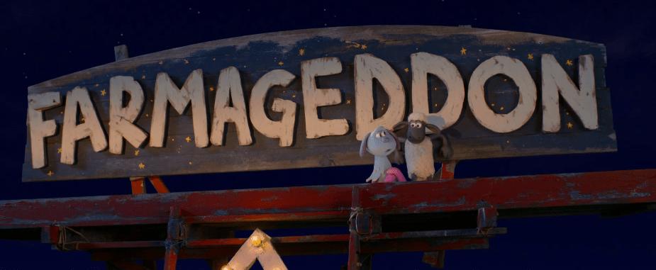 Shaun dan Lu-La di belakang tanda Farmageddon