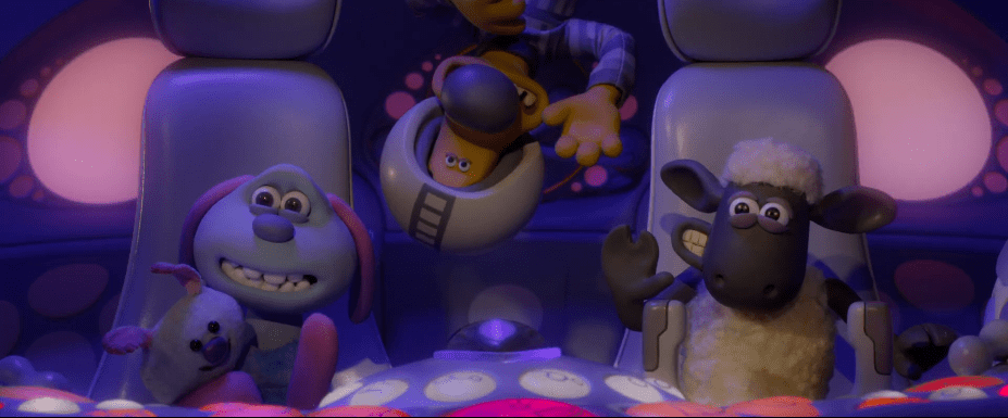 Shaun, Bitzer dan Lu-La dalam film A Shaun the Sheep Movie: Farmageddon