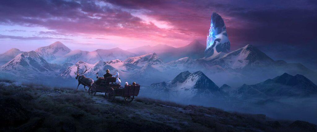 gunung dan adegan mengejutkan dalam film Frozen 2