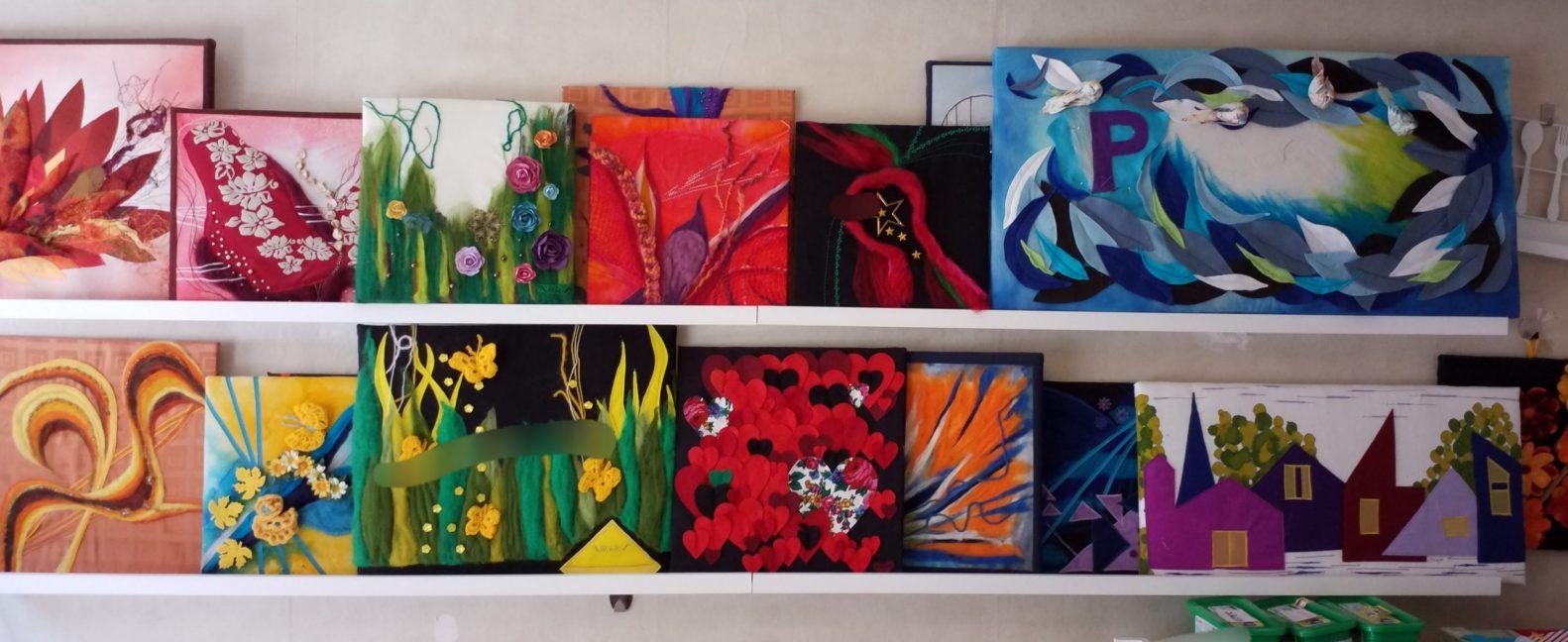 resultaat wol stoffen schilderij wanddecoratie parkinson