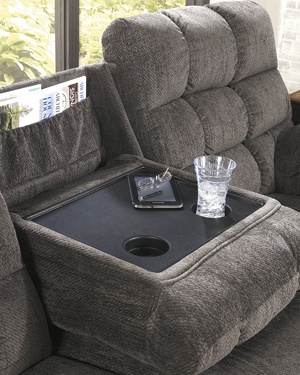 Acieona Reclining Sofa with Drop Down Table  Marjen of