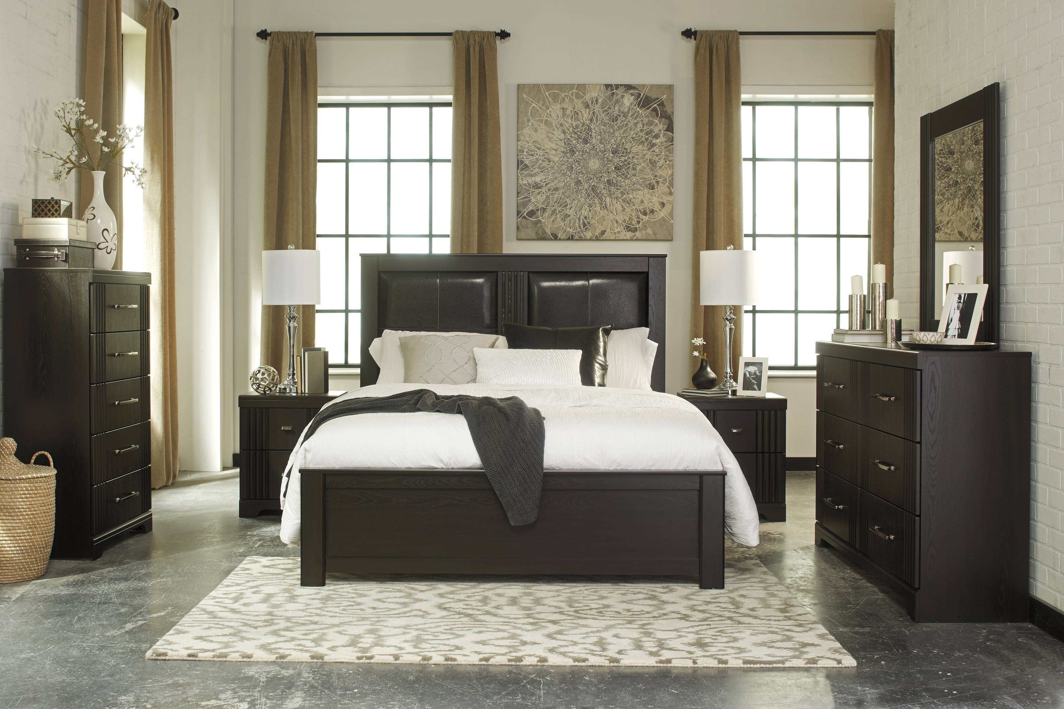 Ashley Tadlyn 3 Piece Bedroom Set In Dark Brown Clearance